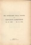 Nel centenario dalla nascita di Giovanni Canestrini 26/12/1835 - 26/12/1935
