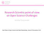 Research Scientist point of view on Open Science Challenges: intervento di Achille Giacometti