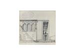 Palazzo Liviano, prospettiva della facciata orientale con la variante del portale d'angolo secondo il progetto di Gio Ponti