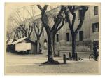"""Piazza Capitaniato, scorcio delle case da abbattere per far posto al nuovo palazzo di Lettere, il """"Liviano"""""""