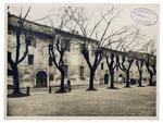 """Piazza Capitaniato, edificio a nord della Sala dei Giganti e casette prima della costruzione del nuovo palazzo di Lettere, il """"Liviano"""""""