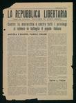 La repubblica libertaria. Organo del movimento Italia libera nel mondo liberata