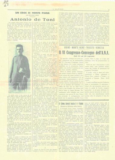 Antonio de Toni. Un eroe di Monte Piana. (10 giugno 1915)
