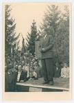Cerimonia della consegna della medaglia d'oro alla memoria di Giovanni Carli. Il professor Zancan pronuncia un discorso