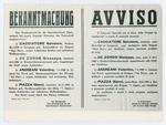 Avviso bilingue dell'esecuzione di quattro partigiani a Belluno