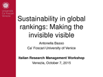 Sustainability in Global Rankings: making the invisible visible. Use case I from Hosting Partner