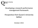 Use Case of the Queens University of Belfast in the use of SciVal and Pure. User Case III