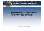 L'Open Archive e il suo sviluppo nell'Università di Verona