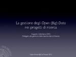 La gestione degli Open (Big) Data nei progetti di ricerca