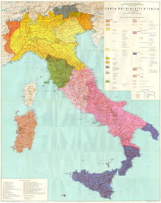 Carta dei dialetti d'Italia, a cura di G.B. Pellegrini