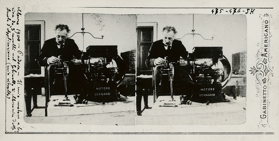 Stereoscopic print of Enrico Bernardi and his 3-horse power engine.