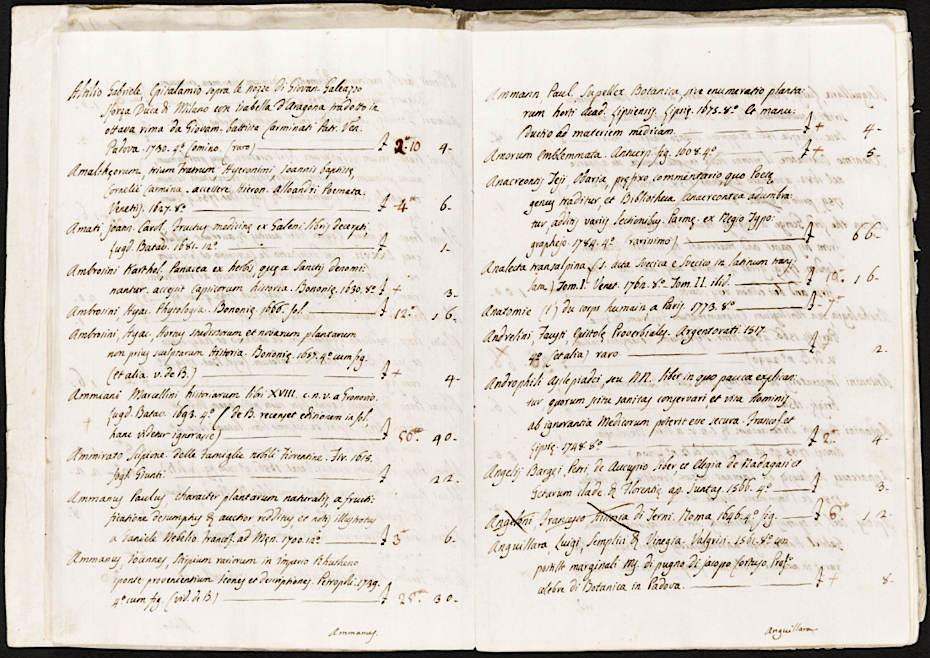 Due pagine del catalogo dei libri della raccolta Marsili
