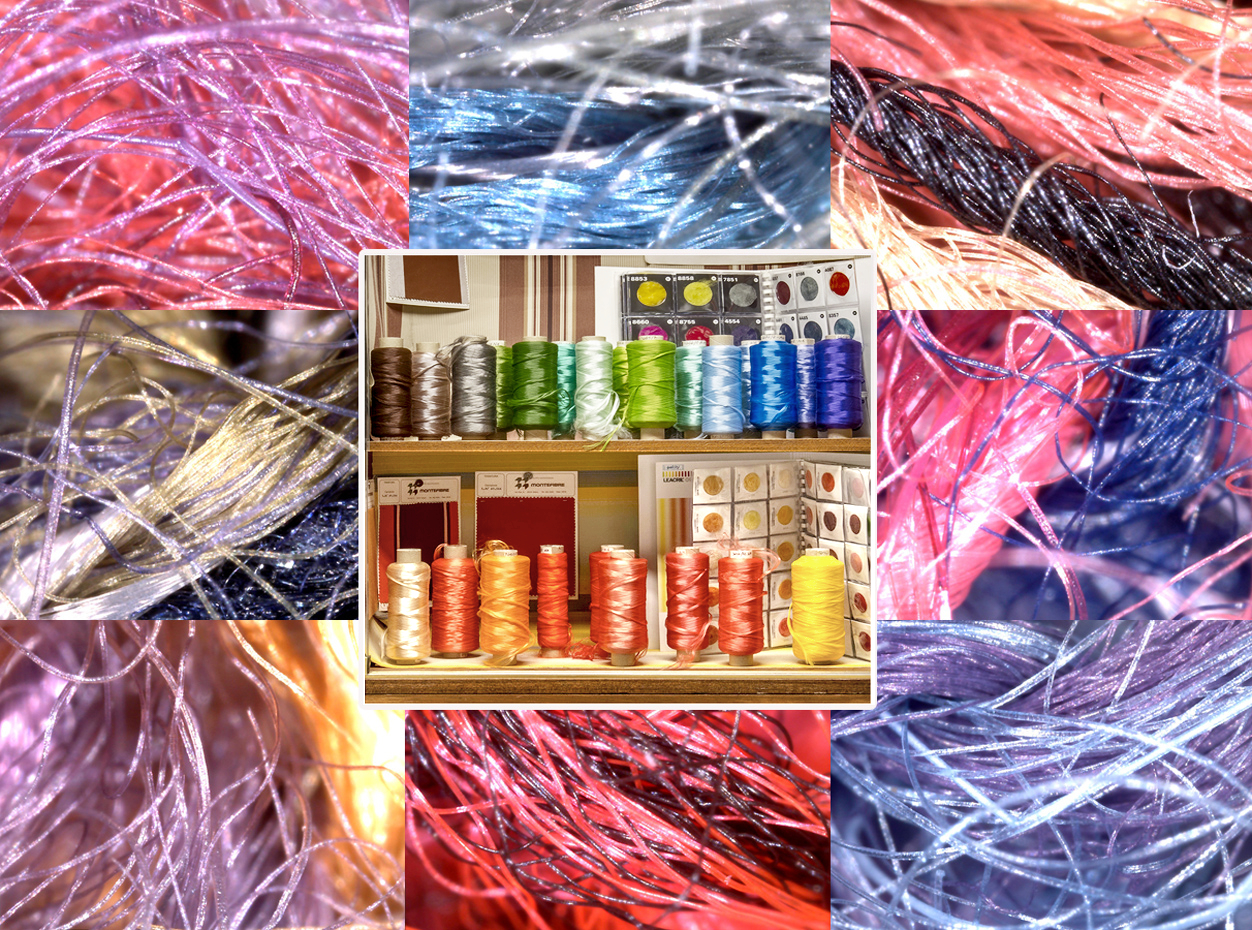 Detail of the showcase of Montefibre Collection, surrounded by images of acrylic fibers seen under the microscope