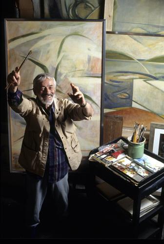 Armando Pizzinato nel suo studio alla Salute, Venezia, 1991. Foto: Paolo della Corte.