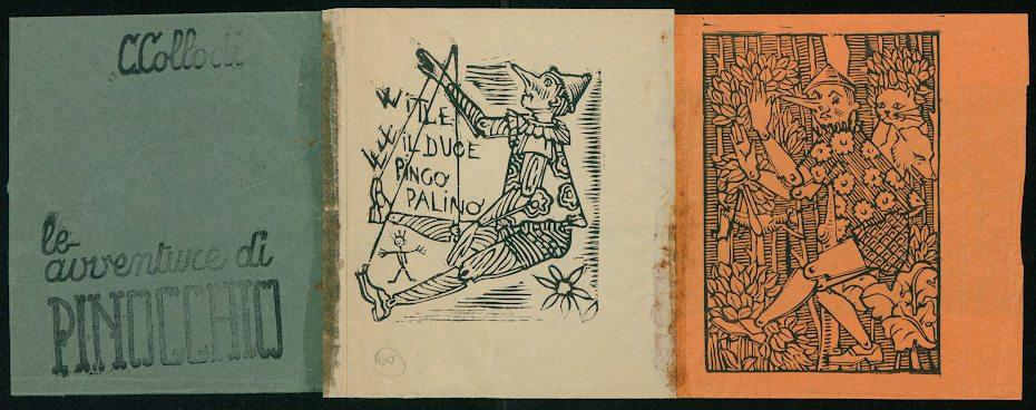 Bozzetto di Amleto Sartori per 'Pinocchio' (sovracopertina della traduzione italiana del libro di Hermann Rauschning, Confidenze di Hitler), 1944