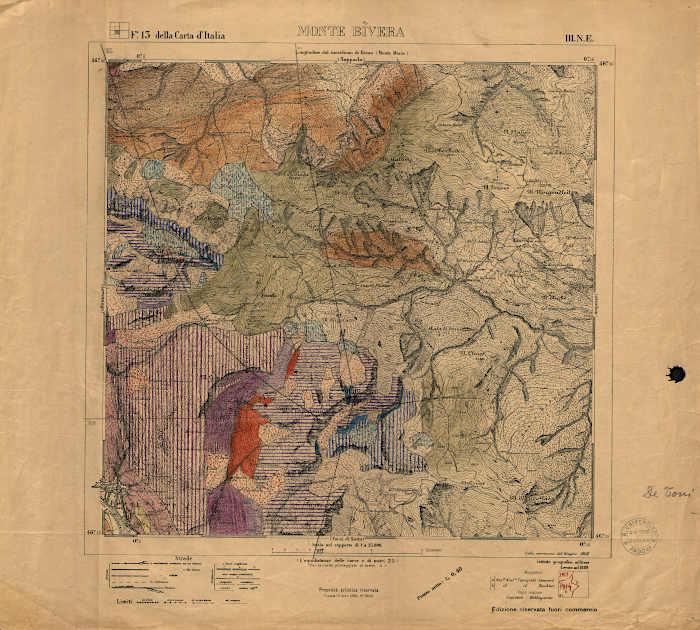 Rilevamento geologico di Monte Bivera con la firma di Antonio De Toni