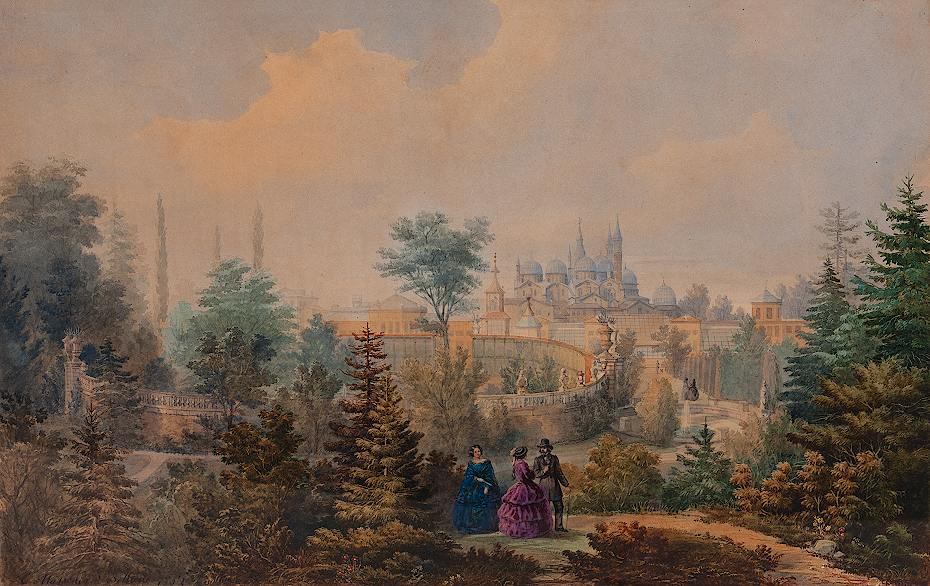 View of the Botanical Garden of Padua, painting, 1862