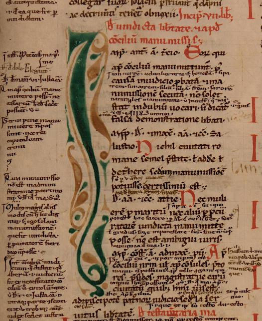 Iniziale decorata del ms. 688, c. 134r.