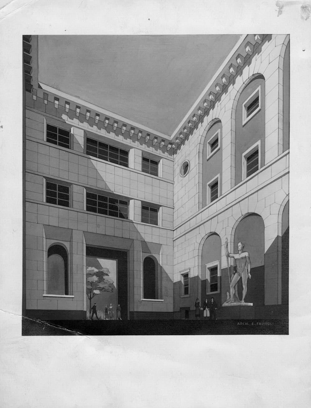 Palazzo Bo, Cortile littorio, fondale