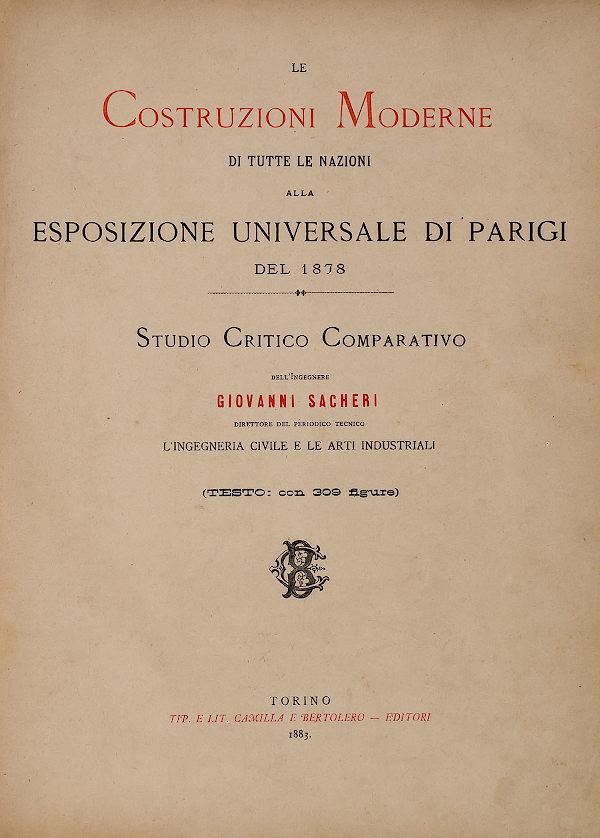 Frontespizio del libro Le costruzioni moderne di tutte le nazioni alla Esposizione Universale di Parigi del 1878.