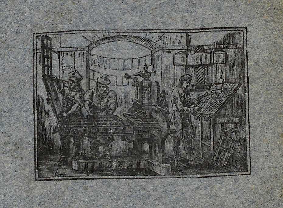 "<em>Printing press, printed on the rear cover of the first volume of Gaetano Filangeri's <em>La scienza della legislazione</em> (""The science of legislation""). Venice 1822</em>"