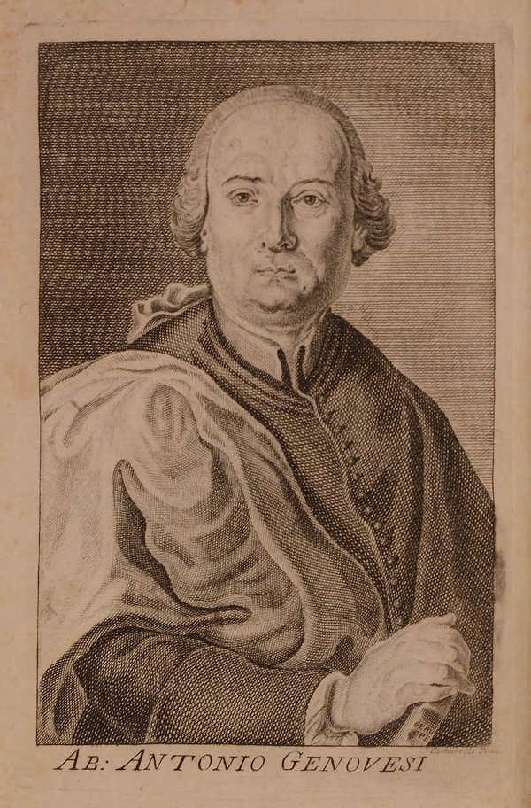 Engraved portrait of Antonio Genovesi, in <em>Spirito delle leggi del signore di Montesquieu con le note dell'abate Antonio Genovesi</em>. Naples 1777.