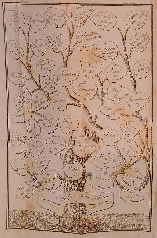 Albero delle servitù in Appendice al Trattato delle servitù teorico-pratiche secondo il diritto romano dell'avv. prof. Luigi Piccoli. Bologna 1827.