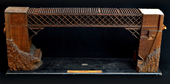 Three-dimensional view of model no. 1 – Wooden bridge over the Piave at Capodiponte (Province of Belluno)