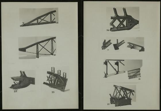 Two pages from 'Modelli per l'insegnamento pratico della costruzione dei ponti metallici, esistenti nel Gabinetto di ponti della R. Scuola di applicazione in Padova'
