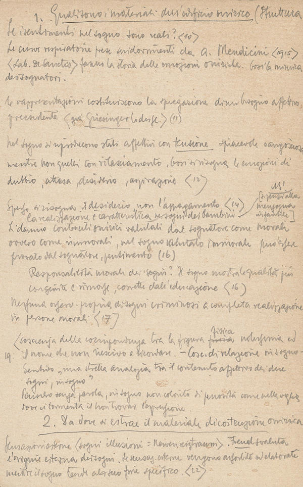 Handwritten page by Vittorio Benussi