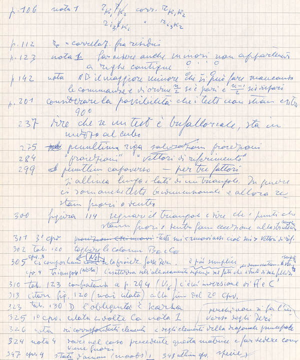 Handwritten page by Fabio Metelli