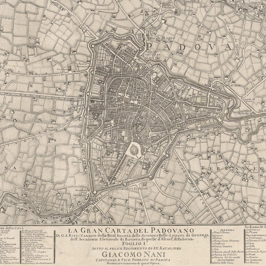 "Table n° 1 from ""La Gran Carta del Padovano"": map of the city of Padua (Rizzi Zannoni 1780)."